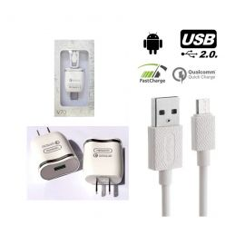 CARGADOR PARED USB 3A CON CABLE MICRO USB V8