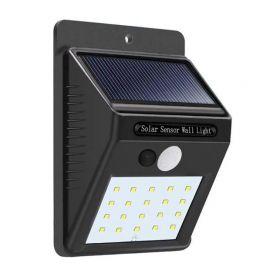 REFLECTOR SOLAR LED LUZ BLANCA CON SENSOR DE MOVIMIENTO - 20 LEDS