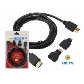 Cable Hdmi 3 En 1 Con Adaptador Mini Hdmi y Micro Hdmi - 1.5 Metros