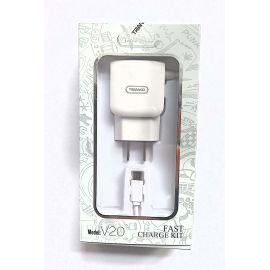 CARGADOR  2 PUERTOS USB CON CABLE MICRO USB  2.4 A