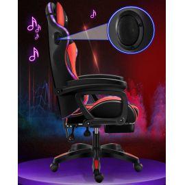 Silla Gamer Luces Led RGB con Parlantes Masajeador Vibrador Lumbar y Reposapies